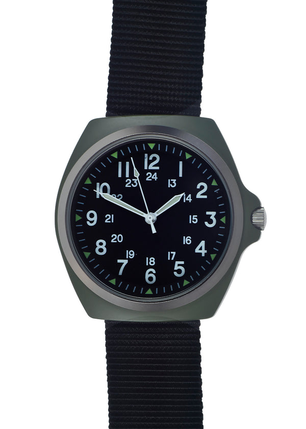Military Industries Remake of the mid 1980s Pattern MIL-W-46374C U.S Pattern Military Watch in Olive Drab - Will Probably Need a Battery Soon