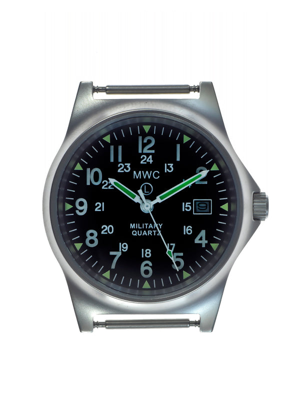 MWC G10 LM Stainless Steel Military Watch with 12/24 Hour Dial - Not Running but Brand New