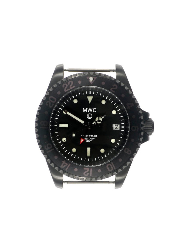 MWC GMT 300m Water Resistant Dual Timezone Military Watch in Black PVD Steel on Matching Bracelet