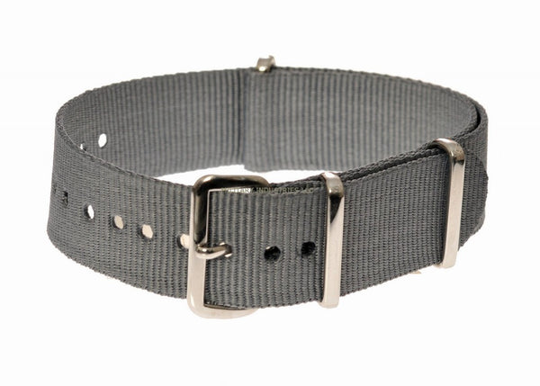 Grey Ballistic Nylon NATO Military Watch Strap - Available in sizes from 18mm to 24mm