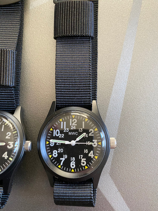 4 x MWC Classic 1960s/70s Pattern Watches on Webbing Straps and in tins (New but Crystals are Loose)