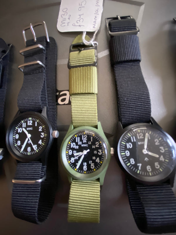 6 x MWC Classic 1960s/70s Pattern Black Vietnam Watches (New but some need batteries and all need crystals checking)