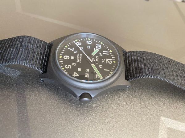 MWC G10 PVD 12/24 50m Water Resistant Military Watch - 2015 Model Not Running but Looks New with Plastic on Dial Could Well Just be a Battery