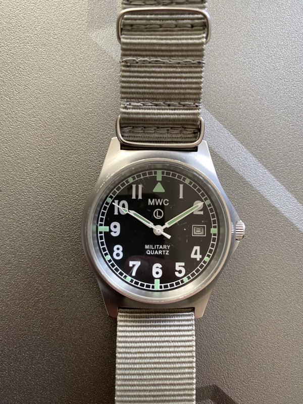 MWC G10 LM Stainless Steel Military Watch (Grey Strap) Not Running but Very Clean