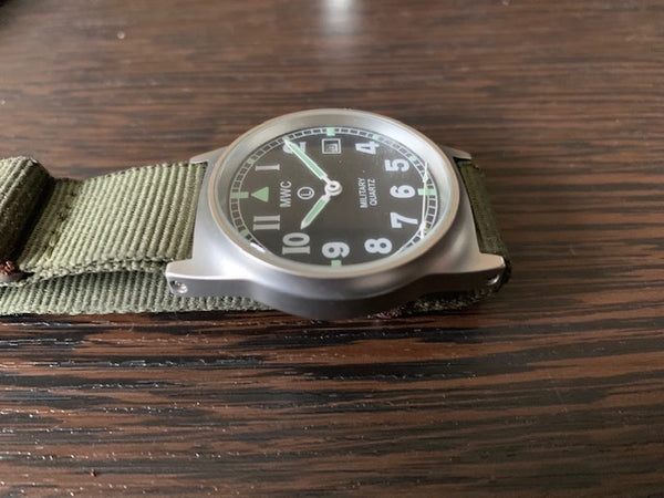 MWC G10 LM Stainless Steel Military Watch (Olive Strap) - Needs Attention
