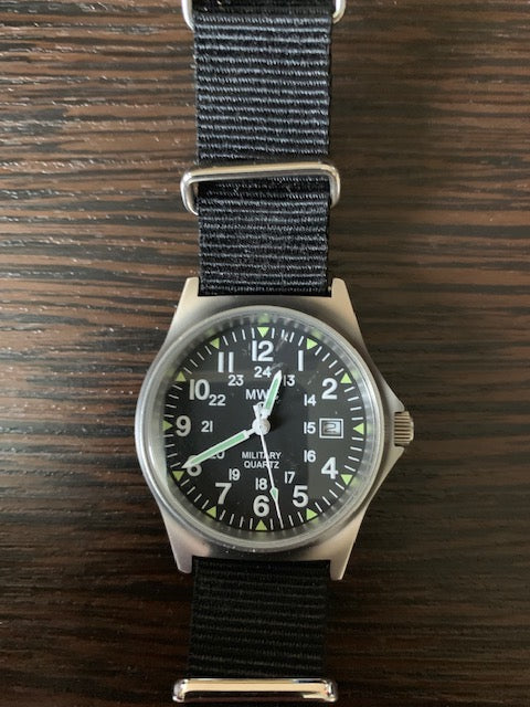 MWC G10 LM Stainless Steel Military Watch with 12/24 Hour Dial - Manufactured  2016 so Probably Just Needs a Battery