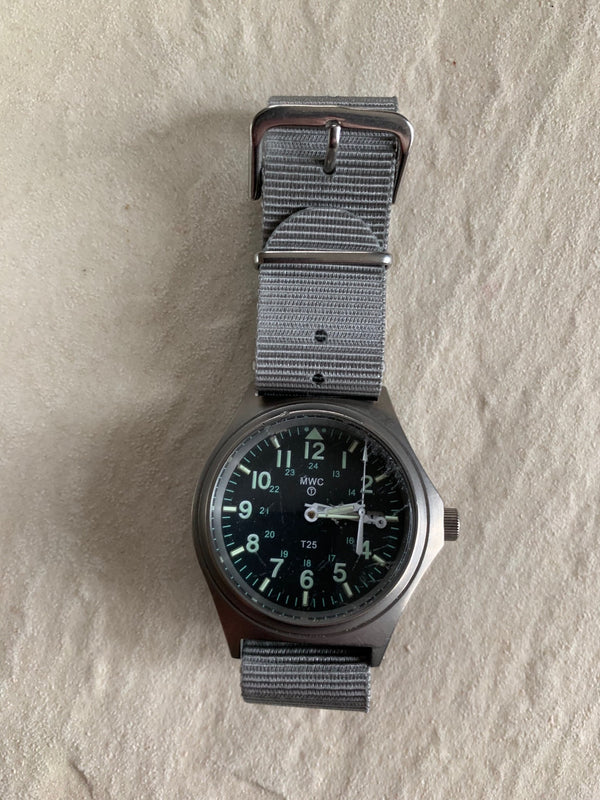 MWC G10 100m GTLS 12/24 Titanium Model Military Watch - Needs Hands Resetting