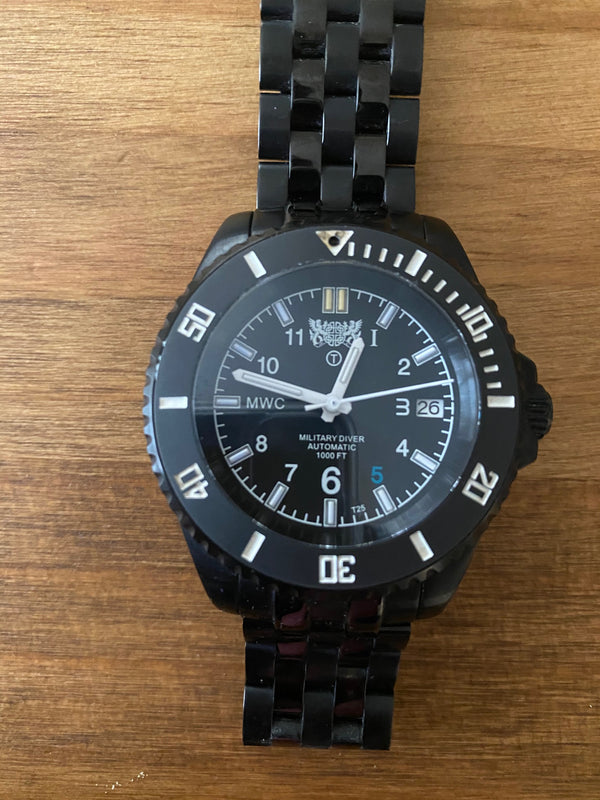 MWC GTLS Government Contract Watch - 24 Jewel 300m Automatic Divers Model, Display Caseback  on PVD Steel Bracelet - Bezel PIP Missing