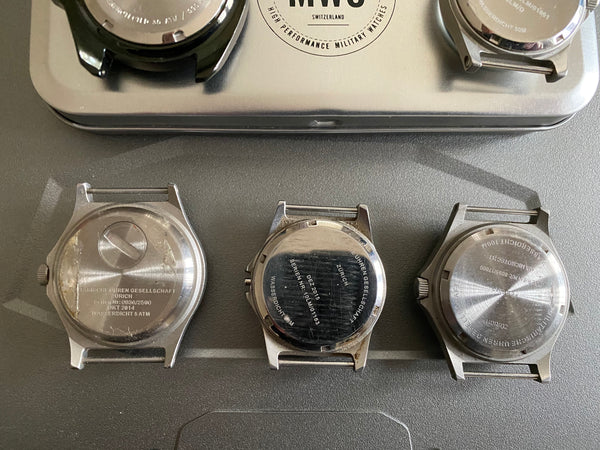 Bundle of 5 MWC Watches For Repair - 2 x G10LM, 1 x 300m Quartz Divers Watch, G10/PB, G10 100m GTLS with Tritium