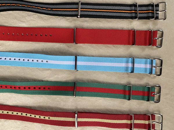 Clearance Bundle of 5 x 20mm Mixed NATO Military Watch Straps as Pictured Greatly Reduced