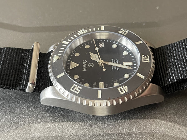MWC 24 Jewel 300m Automatic Military Divers Watch - New and Runs But Hands are Difficult to Set and Need Adjustment