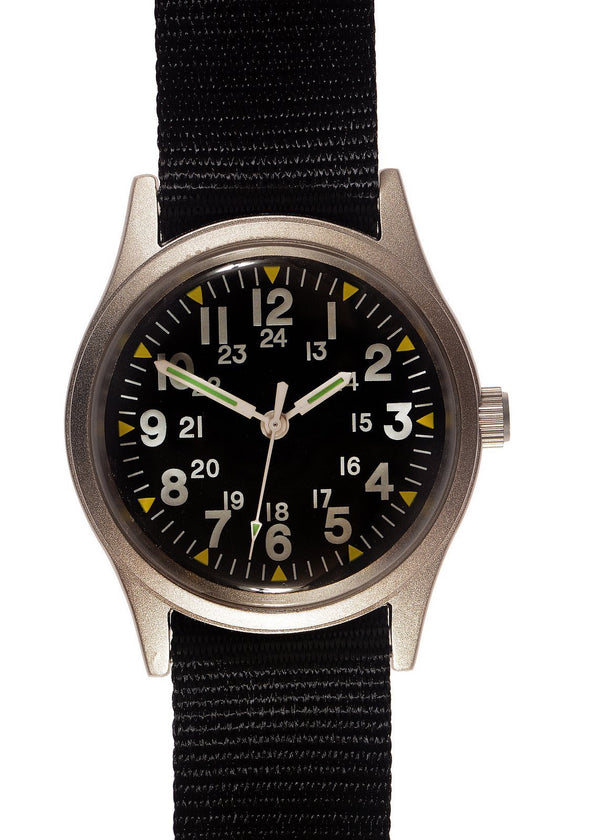 Military Industries MIL-W-46374A Vietnam War Pattern Watch on Webbing Strap - Probably Needs a New Battery or Likely Will Soon Hence Reduced to Clear