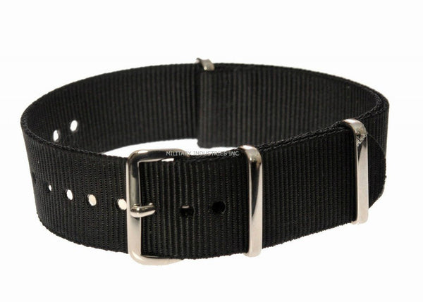 Black Ballistic Nylon NATO Military Watch Strap