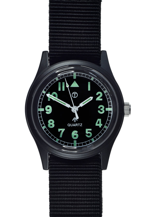 Military Industries Covert Black General Service Watch with 12 Hour Pattern Dial