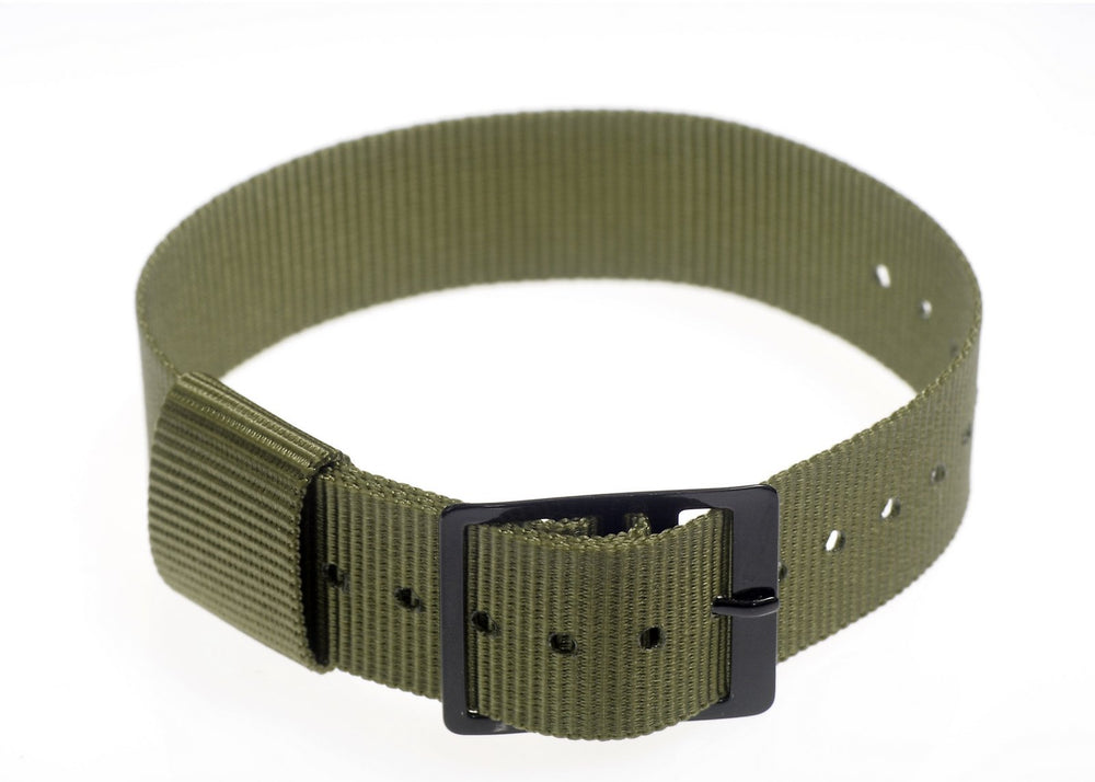 4 x 18mm Olive US Pattern Military Watch Strap with Black Buckles only $1.05 / 75p Each!