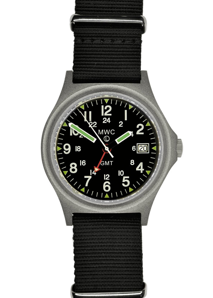 MWC GMT 100m Water resistant Military Watch in Stainless Steel Case with Screw Crown - Ex Display Model from a Trade Show
