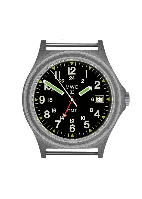 MWC GMT 100m Water resistant Military Watch in Stainless Steel Case with Screw Crown - Ex Display Watch Needs Battery Replacement