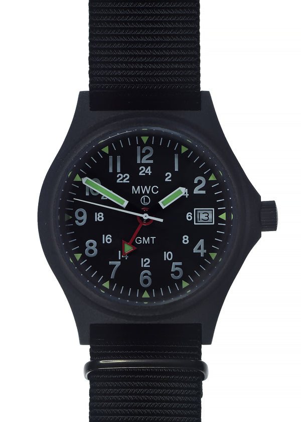 MWC GMT (Dual Time Zone) 100m/330ft Water resistant Military Watch in Black PVD Steel Case with Screw Crown
