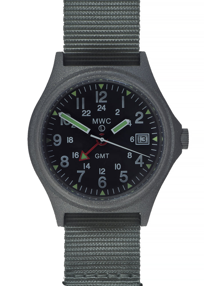 MWC GMT (Dual Time Zone) 100m/330ft Water resistant Military Watch in Stainless Steel Case with Screw Crown
