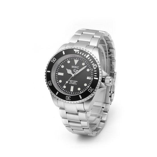 MWC 24 Jewel 300m Automatic Military Divers Watch with Sapphire Crystal and Ceramic Bezel on a Steel Bracelet