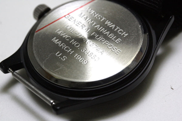 MWC Classic 1960s/70s Pattern Black Vietnam Watch on Webbing Strap (New Ex Display Watch from Trade Show)