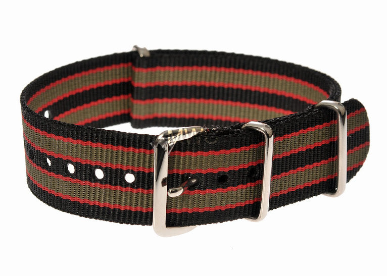 20mm Black, Red and Olive Green NATO Military Watch Strap