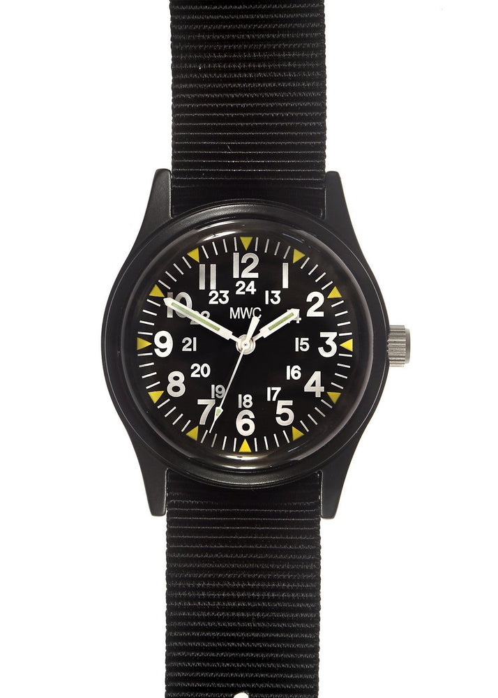 MWC Classic 1960s/70s Pattern Black Vietnam Watch on Matching Webbing Strap (Might Need a New Battery within 12 Months)