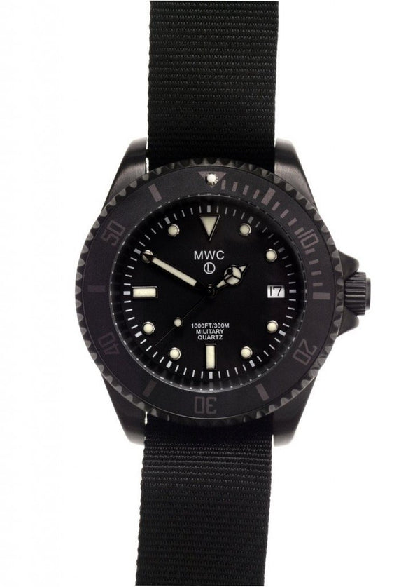 MWC 300m Black PVD Quartz Military Divers Watch (Branded)