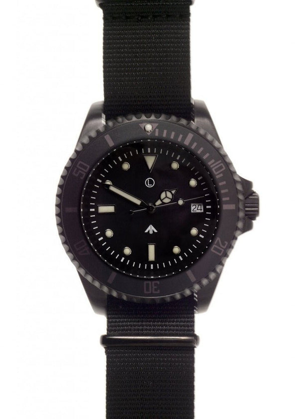 MWC 24 Jewel 300m Automatic Military Divers Watch in Black PVD Steel - Needs Rotor Resetting but Running Fine