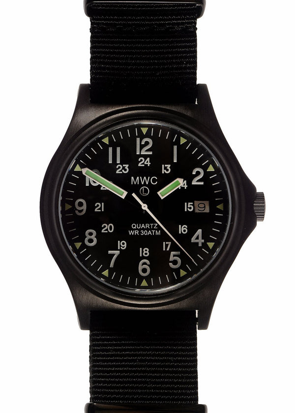 MWC G10 300m / 1000ft Water resistant Limited Edition Military Watch in Black PVD Finish with Sapphire Crystal on NATO Strap - Needs Attention