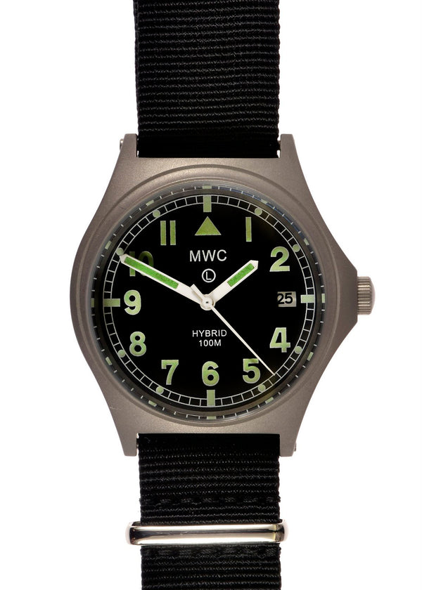 MWC G10 100m Hybrid Powered Titanium Military Watch with Super Luminova (Needs Strap Pin)