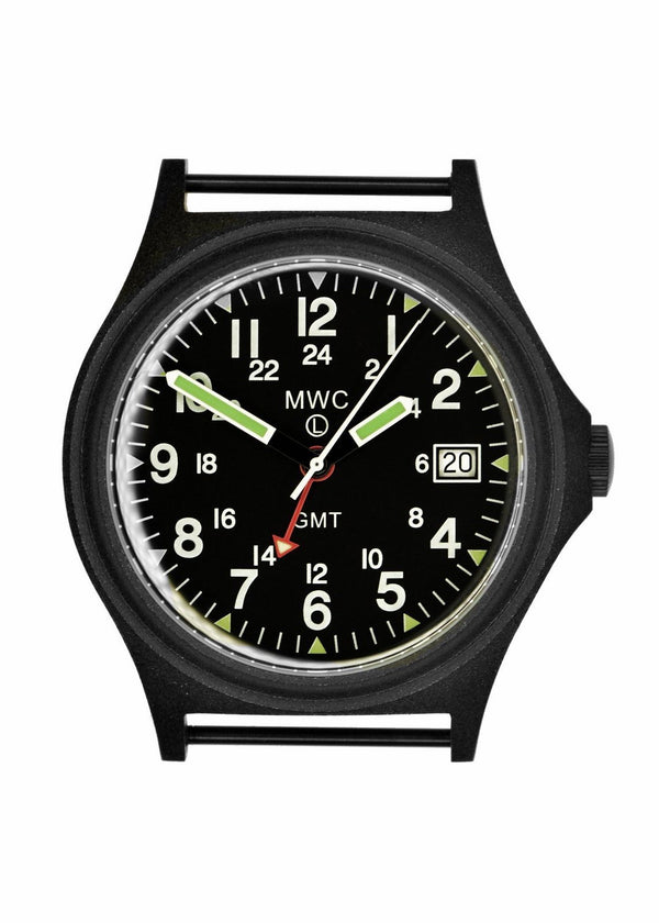 MWC GMT 100m Water resistant Military Watch in Black PVD Steel Case with Screw Crown - Brand New Needs Battery