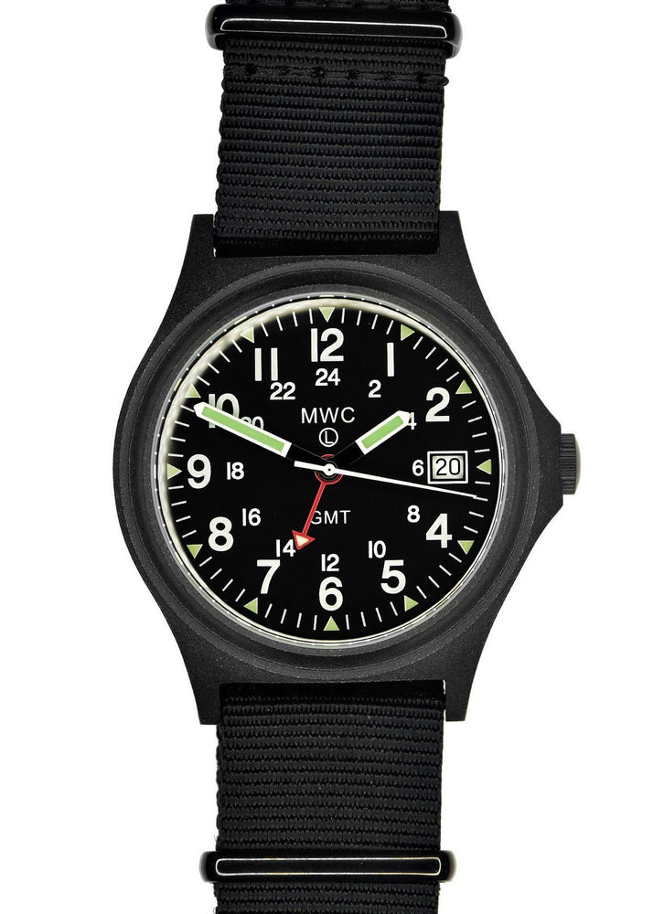 MWC GMT 100m Water resistant Military Watch in Black PVD Steel Case with Screw Crown - Ex Display Watch from a Tradeshow
