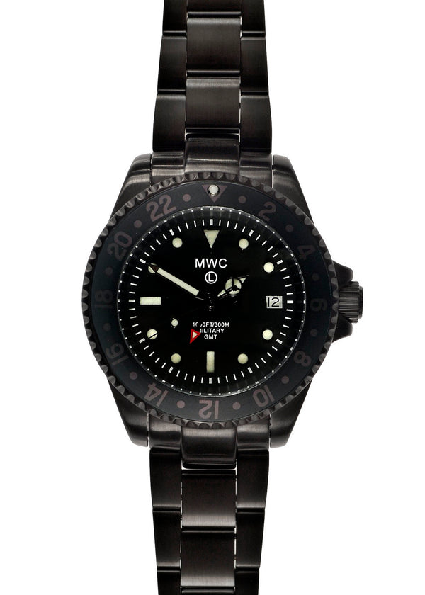 MWC GMT 300m Water Resistant Dual Timezone Military Watch in Black PVD Steel on Matching Bracelet - Will Need a New Battery Soon