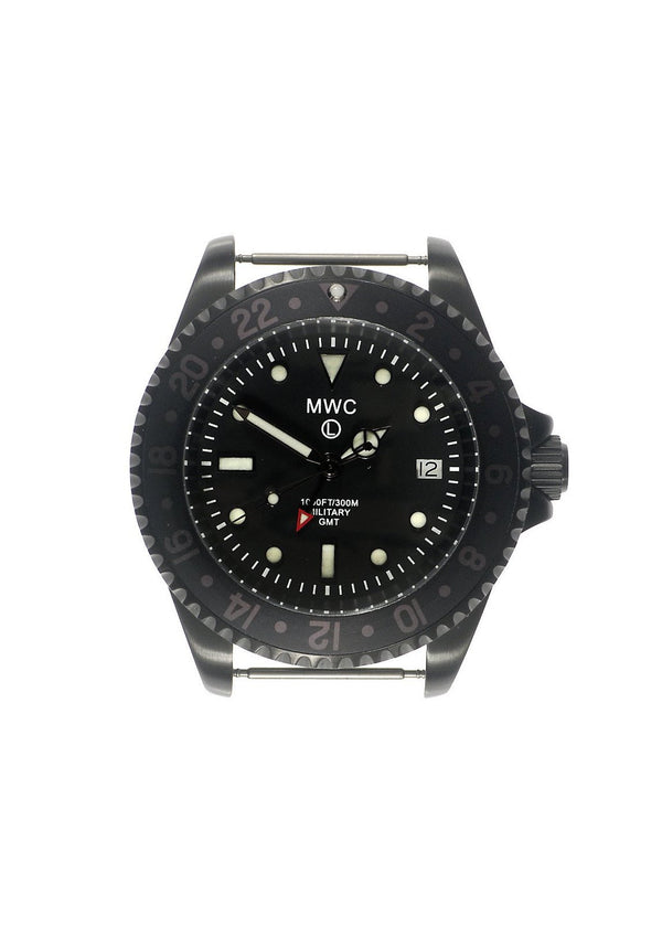 MWC GMT 300m Water Resistant Dual Timezone Military Watch in Black PVD Steel