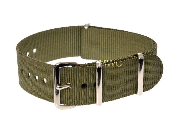 24mm Olive NATO Military Watch Strap