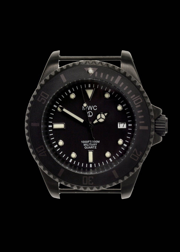MWC 300m / 1000ft PVD Quartz Military Divers Watch with Desert and Black NATO Straps