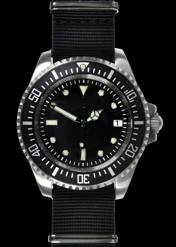 MWC 24 Jewel 300m Water Resistant 24 Jewel Automatic Military Specification Divers Watch with Sapphire Crystal on NATO Strap (Sterile)