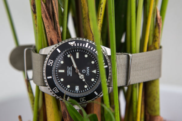 MWC 24 Jewel 300m Automatic Military Divers Watch with Sapphire Crystal and Ceramic Bezel on a NATO Webbing Strap - Ex Display Watch from a Trade Show Available