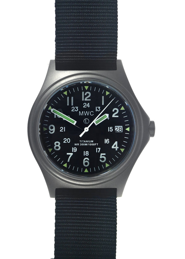 MWC Titanium General Service Watch, 300m Water Resistant, 10 Year Battery Life, Luminova, Sapphire Crystal and 12/24 Dial Format (Date Version)
