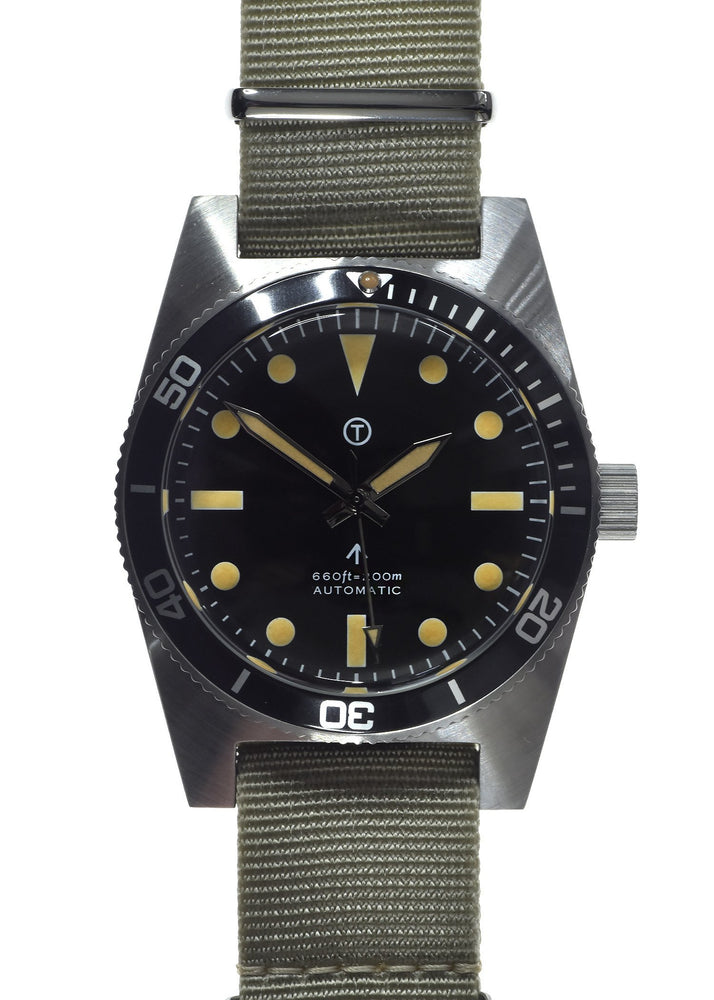 Military Industries 1970s Pattern Automatic 24 Jewel Stainless Steel Divers Watch (Non Date Version)