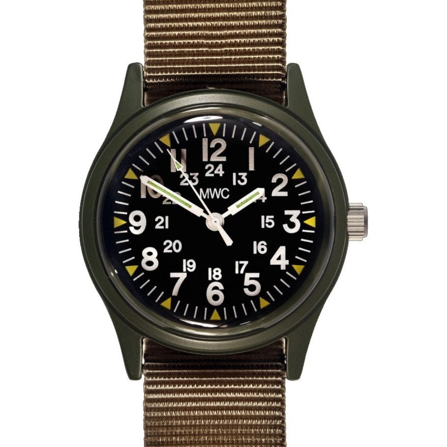 SPECIAL CLEARANCE OF 10 x MWC Classic 1960s/70s Pattern Olive Vietnam Watch on Matching Khaki Webbing Strap (Might Need New Batteries within 12 Months)