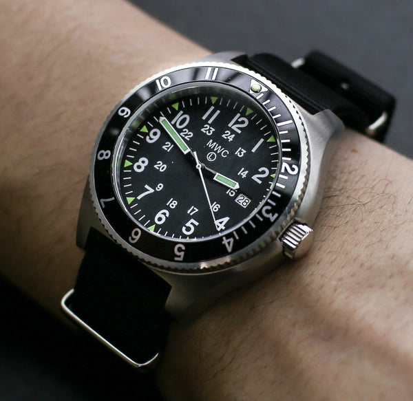 MWC 300m Water Resistant Stainless Steel Navigator Watch with Super Luminova - Slight Second