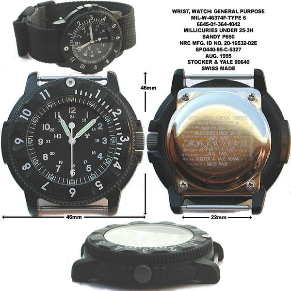 MWC P656 Tactical Series Watch with GTLS Tritium, 10 Year Bartery Life Movement and Sapphire Crystal (Date Version) - Running but Second Hand Needs Resetting