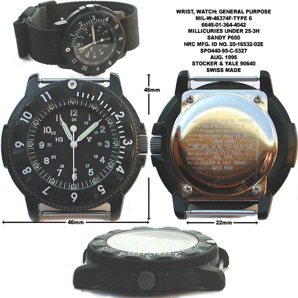 MWC P656 Tactical Series Watch with Subdued Dial, GTLS Tritium and Ten Year Battery Life (Date Version) - Brand New Ex Display Watch Save 50%!