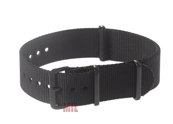 Black PVD Ballistic Nylon NATO Military Watch Strap