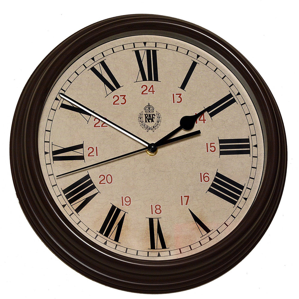 "RAF 1943 Pattern Replica 12/24 Wall Clock 12""/30.5cm (Silent Sweep Movement)"