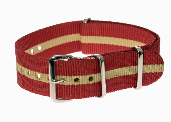 18mm Red and Sand NATO Military Watch Strap