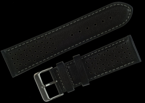 Classic 1970s / 1980s Retro Pattern 20mm Black Leather Watch Strap