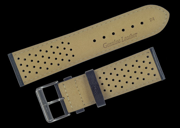 Classic 1970s / 1980s Retro Pattern 24mm Black Leather Watch Strap